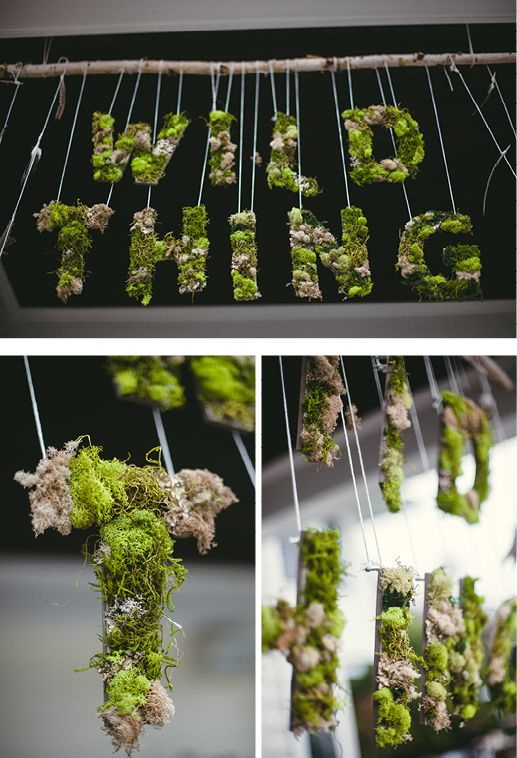 Where the Wild Things Are inspired party deco! Moss covered letters hung with stick and string. Baby Shower Fun, from Langley's Wild One via Andrea Patricia Photography #partyfavorideas #wyliewestcreative