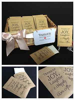 WEDDING POCKET HANKIE TISSUES PACKETS FAVOURS ORDER OF SERVICE TEARS OF JOY