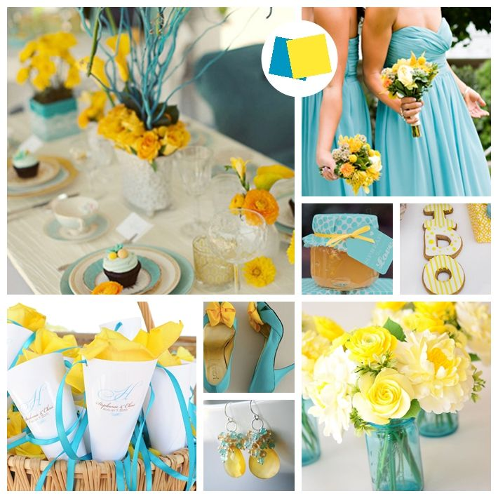 Sunflower Yellow And Seaside Blue Wedding Inspiration Board Weddings Get Inspired Pinterest Colors Decorations