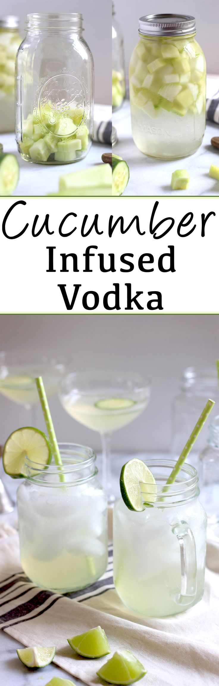 How to make cucumber infused vodka at home. Easy and an unbelievably refreshing addition to all your favorite summer cocktails including a Cucumber Martini and Cucumber Lime Spritzer!