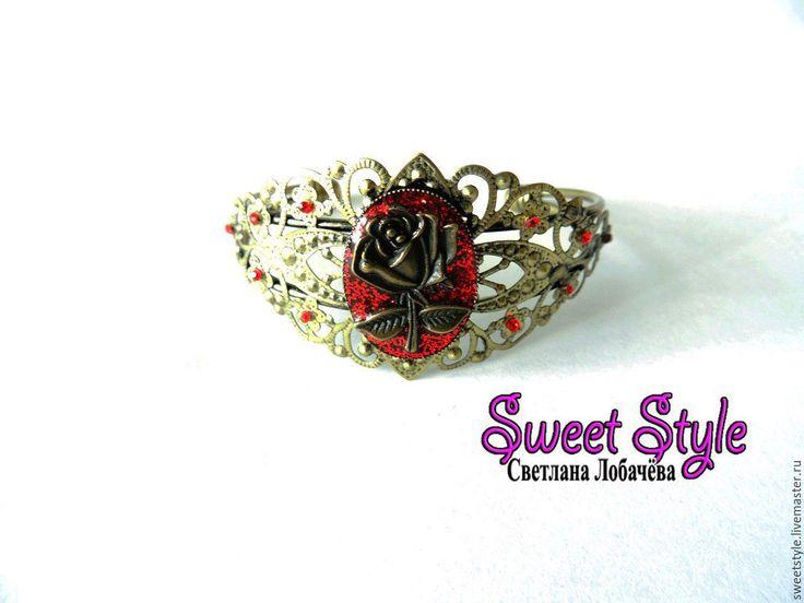 """Купить Браслет """"Роза"""" - Браслет ручной работы, браслет, браслет на руку, роза, регулируемый размер"""