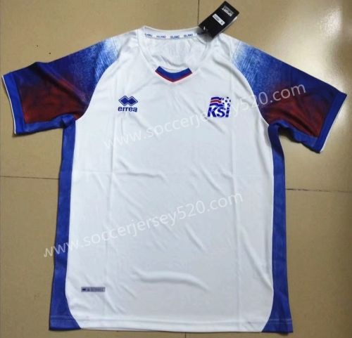 size 40 c7216 9fc16 2018 World Cup Iceland Away White Thailand Soccer Jersey AAA ...