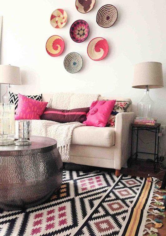 Exemple de plats tissés au mur Aztec Killim | Living Room Design | Tribal Pattern | Woven Rugs | Home Decor