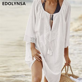 Women Swimsuit Cover Ups Sexy Kaftan Beach Tunic Dress 2018 Summer Robe De Plage Solid Cotton Pareo Beach Cover Up #Q363  Price: 10.96 USD