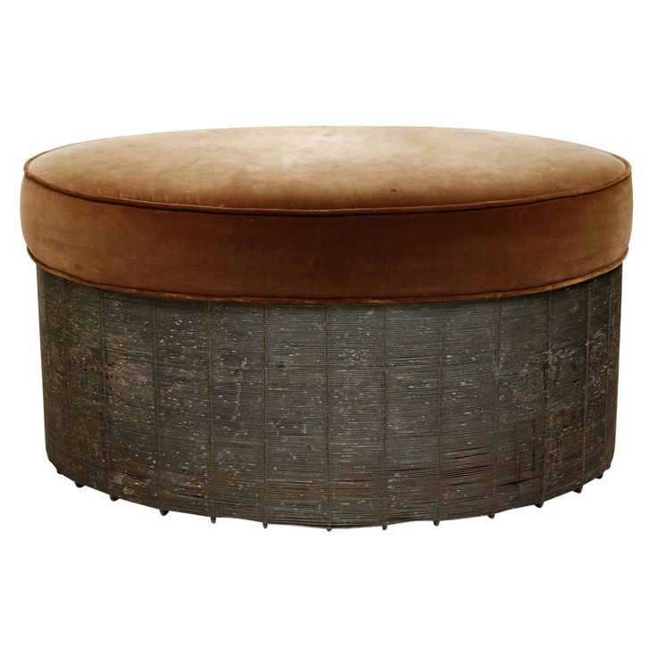 Wire And Velvet Oval Ottoman