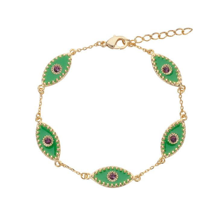 Multi Eye bracelet | $69. Fine chain bracelet crafted in 9ct gold plating, with five delicate evil eye pendant motifs in green enamel and purple coloured stone pupils. Shop now: http://www.savethelastpinker.com.au/shop/multi-eye-bracelet/