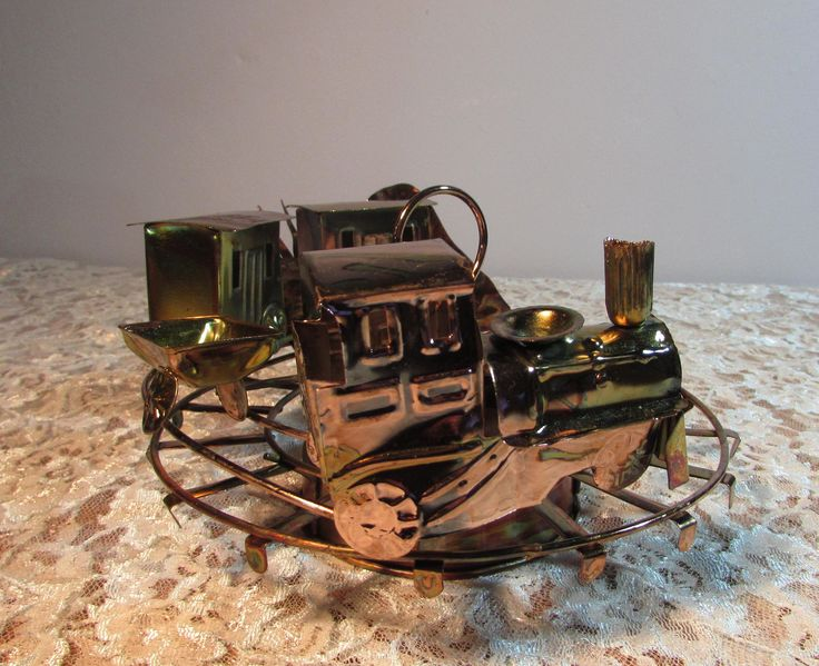 Copper Art Musical Revolving Train Music Box plays I've Been Working on the Railroad by BeanzVintiques on Etsy