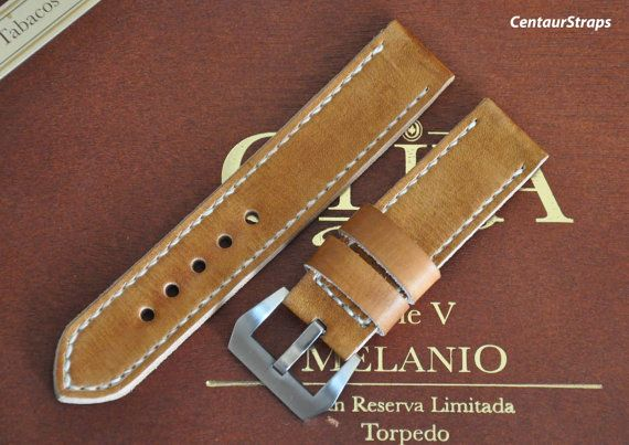 Honey Brown handmade leather watch strap 24 mm by CentaurStraps, €65.00