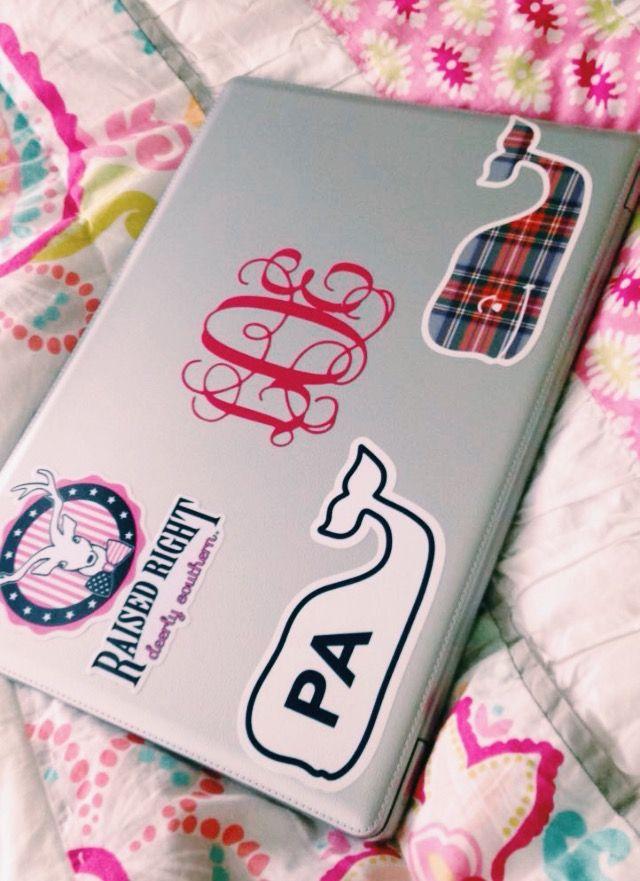 Preppy laptop stickers  Vineyard Vines  monogram   lillyequinn on Vsco