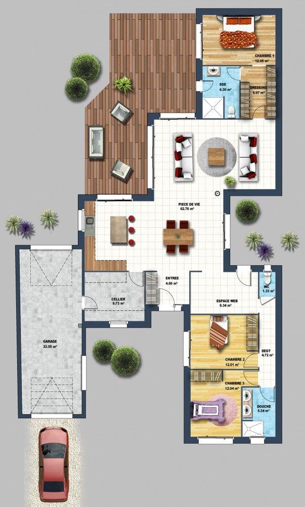 11 best PLANS images on Pinterest Architecture drawing plan, Floor - plan de maison 100m2