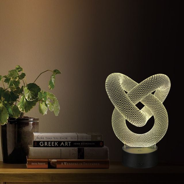 3D de la Ilusión Óptica LED Cable USB Luz Con Pilas de la Lámpara de Escritorio Mesa de Noche de San Valentín Día de Halloween Decoraciones Anular