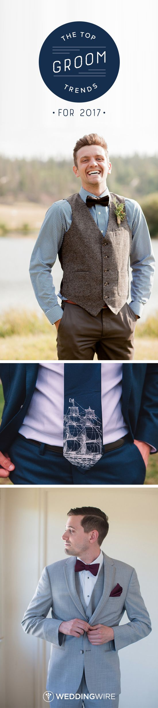 The Top Groom Trends for 2017 - From tweed vests to warm hues, see the top groom attire trends on @weddingwire!  {Alison Rose Photography, Katie Slater Photography, Joleen Willis Photography}