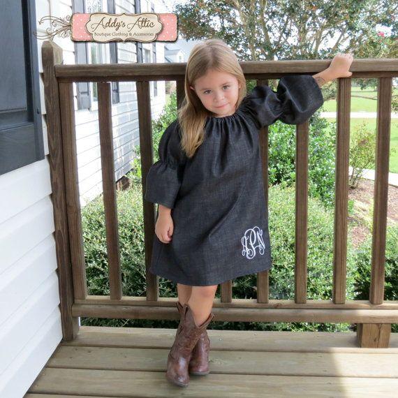 Denim Peasant Dress Monogrammed Dress Toddler by AddysAtticOnEtsy