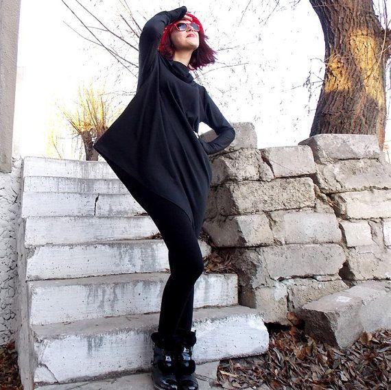 SUN SALE 25% OFF Loose Tunic Top / Asymmetric Black Dress/