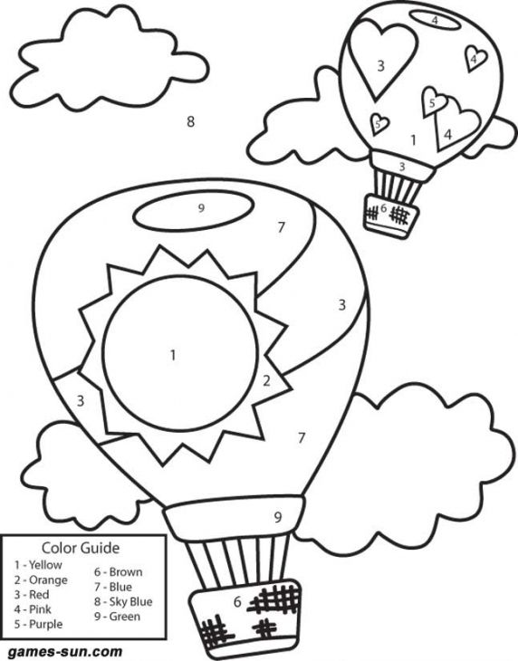 hot air balloon color by number coloring page for little children - Air Transportation Coloring Pages