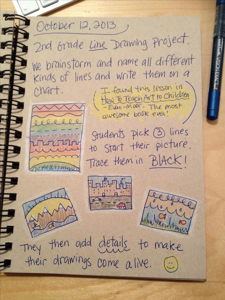 An Art Teacher's Journal. 2nd grade line drawing project. Students create a 3-line drawing to start a picture.                                                                                                                                                                                 More
