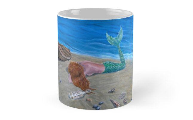 Coffee Mug, mermaid, colorful, aqua, blue, fantasy, home, kitchen, accessories,cool,beautiful,unique,artistic,unusual,for sale,design,gifts,presents,ideas, redbubble
