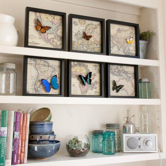 butterflies on maps in ikea frames. LOVE IT