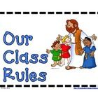 These are classroom rules in two sizes, based on Whole Brain Teaching, that reference Bible Scriptures (NIV). Sizes are 5.5