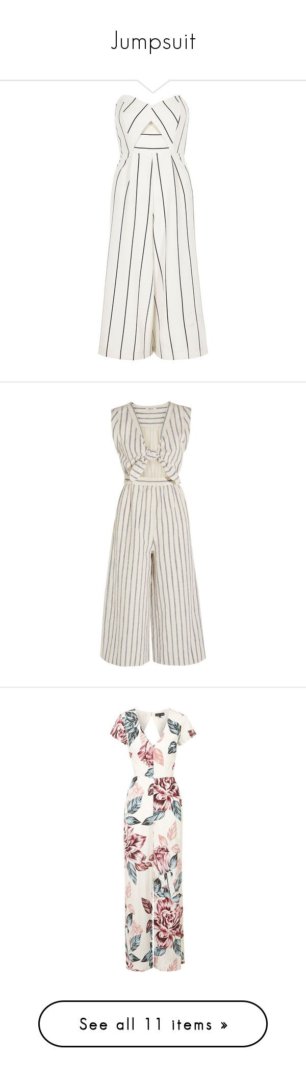 """""""Jumpsuit"""" by laylah-wish ❤ liked on Polyvore featuring jumpsuits, dresses, playsuit, bodysuit, rompers/ jumpsuits, sale, white, women, white jumpsuit and white wide leg jumpsuit"""