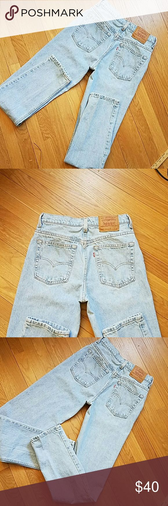 """Levi's 506 vintage high-waisted  jeans 11 """" rise, labeled 10 long, waist hand measured at 28"""" inseam 33"""" , beautiful light blue denim, 100 % cotton, made in the USA, rare find! Levi's Jeans"""