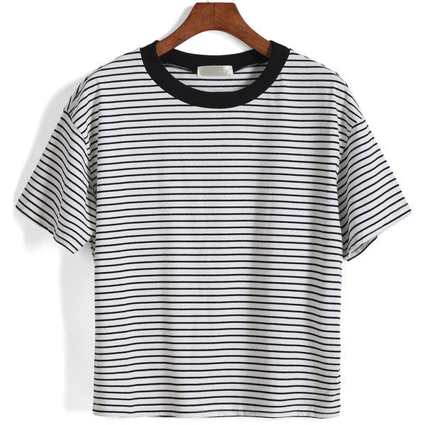 Short Sleeve Striped Loose White T-Shirt ($12) ❤ liked on Polyvore featuring tops, t-shirts, black and white, striped tee, cotton t shirt, short sleeve tee, white t shirt and cotton tee