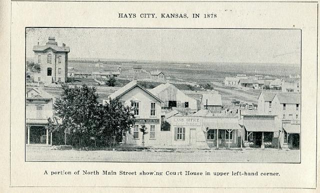 Ellis County Courthouse (Hays, KS) - Built 1873 (Upper left-hand corner of photo) courthousehistory.com