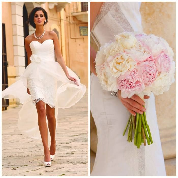 Linea Raffaelli trouwjurk met pioenen boeket van www.weddings.nl
