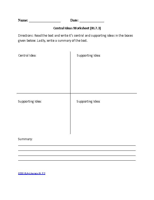 English Worksheets | 7th Grade Common Core Aligned Worksheets