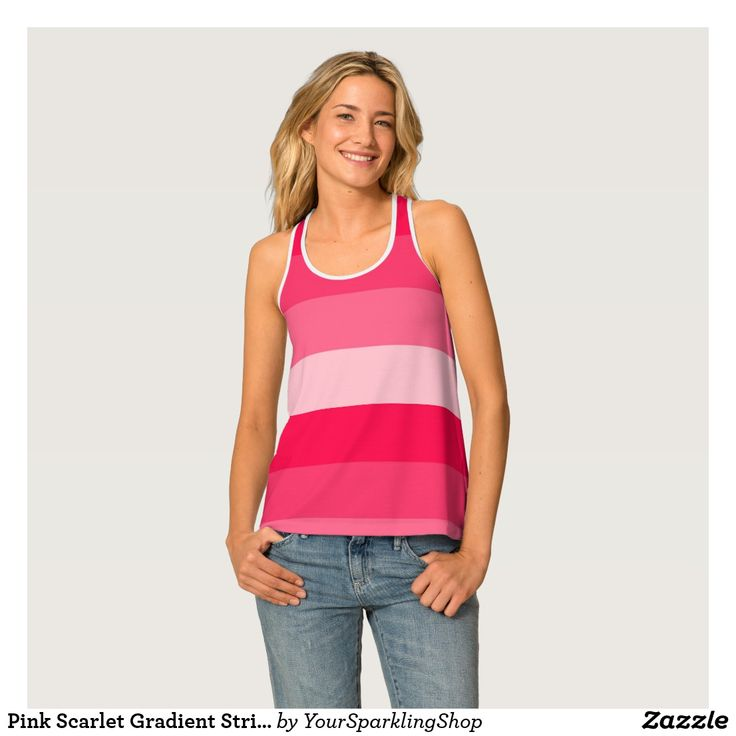 Pink Scarlet Gradient Stripes Pattern  #stripes #striped #top #racerback