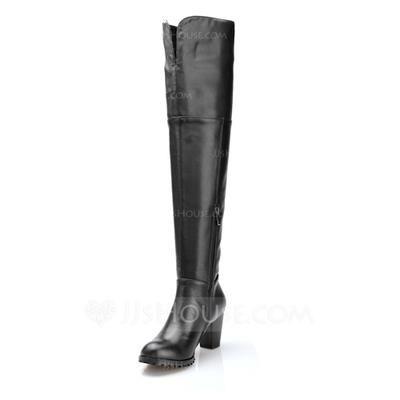 Обувь сапоги выше колен кожа