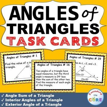 175 best images about math task cards for upper grades on - Sum of the exterior angles of a triangle ...