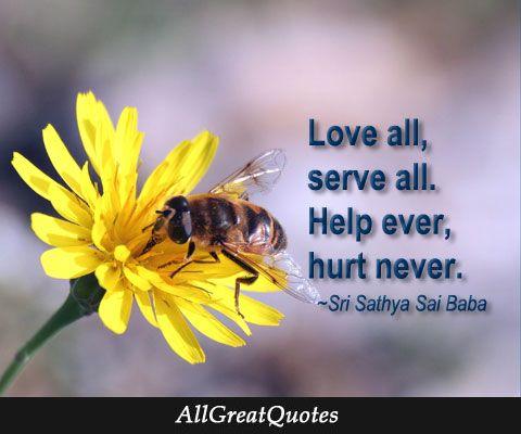 Love all, serve all. Help ever, hurt never - Sri Sathya Sai Baba