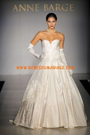 Robe de Mariée 2014 taffetas princesse drapée col en coeur