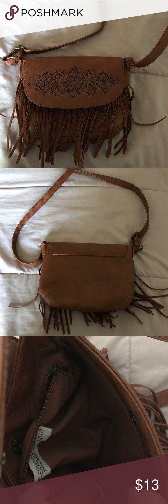 Cognac fringe purse Cognac fringe purse (man made materials). Perfect for casual days Bags Mini Bags