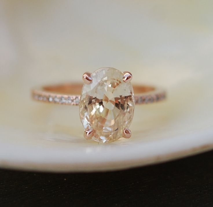 Perfect! . Champagne Sapphire Engagement Ring. Oval cut. 18k rose gold diamond ring 3.29ct Peach champagne sapphire ring by EidelPrecious on Etsy https://www.etsy.com/listing/466251329/reserved-blake-lively-ring-champagne