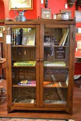 Mission Oak Bookcase with two doors China Cabinet Arts and Crafts Craftsman - Crafters & Weavers - 1