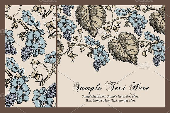 Set Flowers Grapes Card Frame by Vintage on @creativemarket