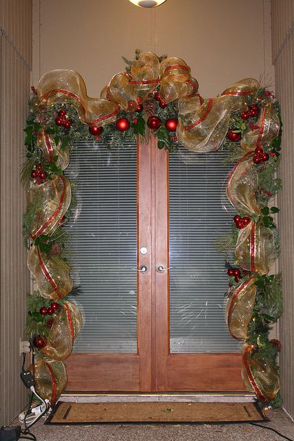 """Front Door Decorations using Deco Mesh 21"""" wide Ribbon by sylharden, via Flickr"""