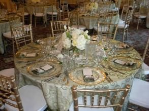gold and green mix - embroidered organza topper, gold rim plates