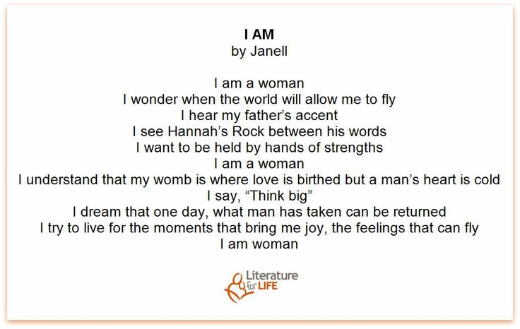 """Janell, from our reading circle programming, shares her story with """"I am."""""""