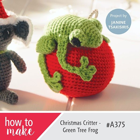 Christmas Critter - Green Tree Frog - Free Amigurumi English Pattern