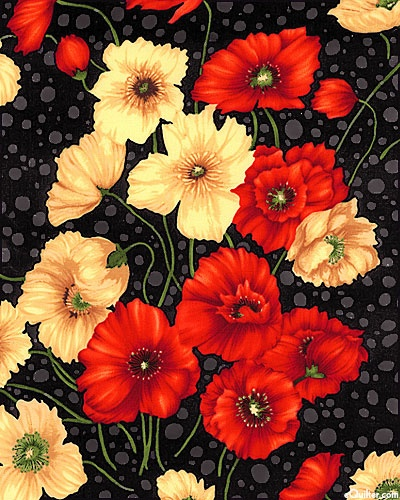 """Larger flowers are about 2 1/2"""", from the 'Poppies' collection, designed for 'Exclusively Quilters' by Classic Cottons"""