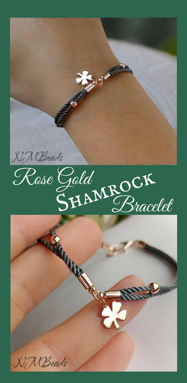 Rose Gold Shamrock Bracelet With Gray Cord Simple Everyday Lucky Make a Wish! #stpatrickday #ad #luckycharm