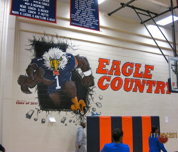 Mural in northside high school gym 13 39 x 21 39 acrylic spray for Mural for school