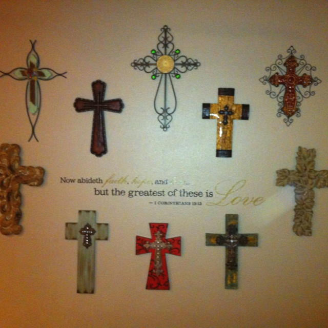 Cross wall decor with scripture crosses for Cross wall decor ideas