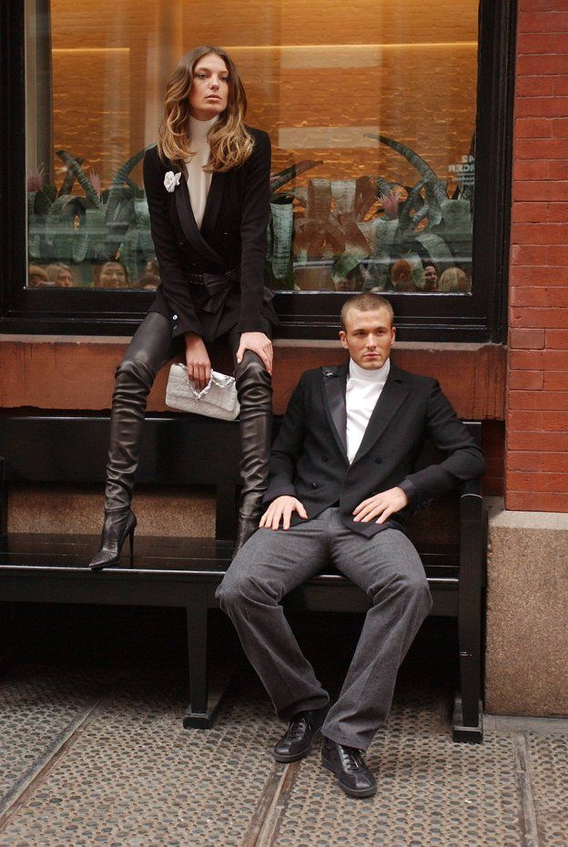 Female and male models posing