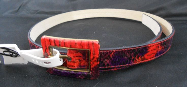 Nine West Large Belt Orange Purple NWT Gold Accent Womens #NineWest