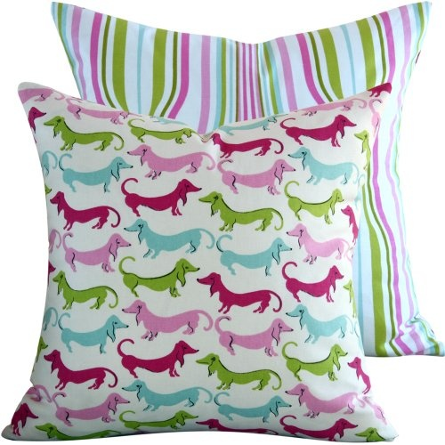 ($37.00) Hot Diggity Dog Collection - Waverly Designer 18x18 Square Boutique Throw Pillow Cover - Dogs and Stripes - Fuschsia, Pink, Lime, Aqua, Ivory and Green - 1 Pillow Cover From Chloe
