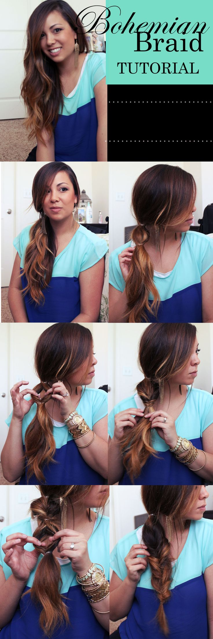 Bohemian braid tutorial. Helpful tips: Fold the bottom part of your hair forward, up and through the hole. Then pull down and through, pull out and tighten. (Something I found that is helpful is I did a small braid in between each twist braid.) Repeat again. After the second twist braid, take out the 2nd clear hair tie, then repeat the process all the way down.